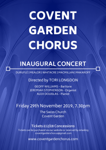 Inaugural Concert Friday 29th November 2019, 7.30pm The Swiss Church, Covent Garden Tickets £12/£8 concessions